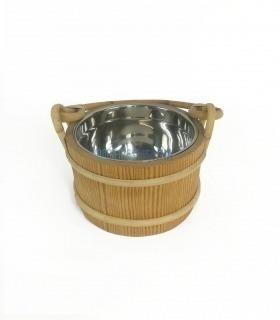 Cubo de madera con interior inoxidable para sauna