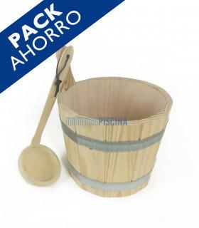 PACK sauna cubo y cucharón madera