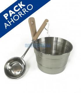 Kit sauna cubo y cucharón acero inoxidable